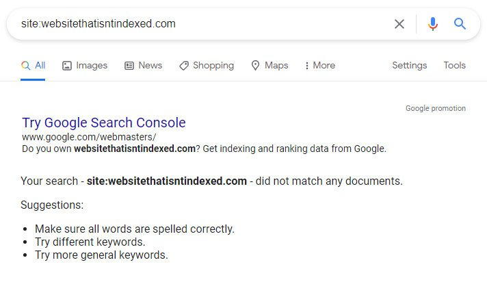 Google not indexed results